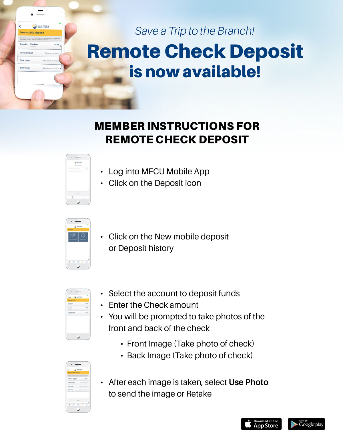 Save a Trip to the Branch. Remote Check Deposit is now available.